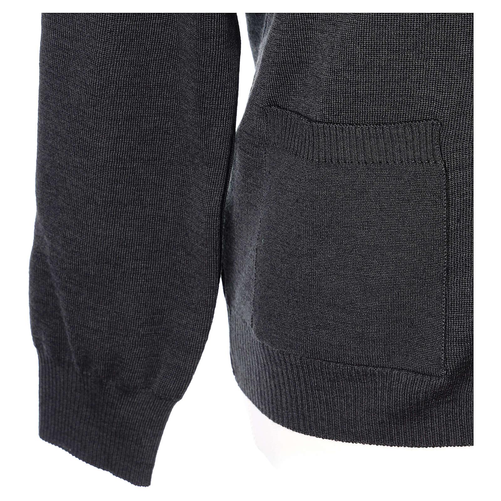 Giacca sacerdote antracite tasche e bottoni 50% lana merino 50% acrilico In Primis 4