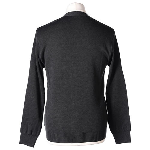Giacca sacerdote antracite tasche e bottoni 50% lana merino 50% acrilico In Primis 7