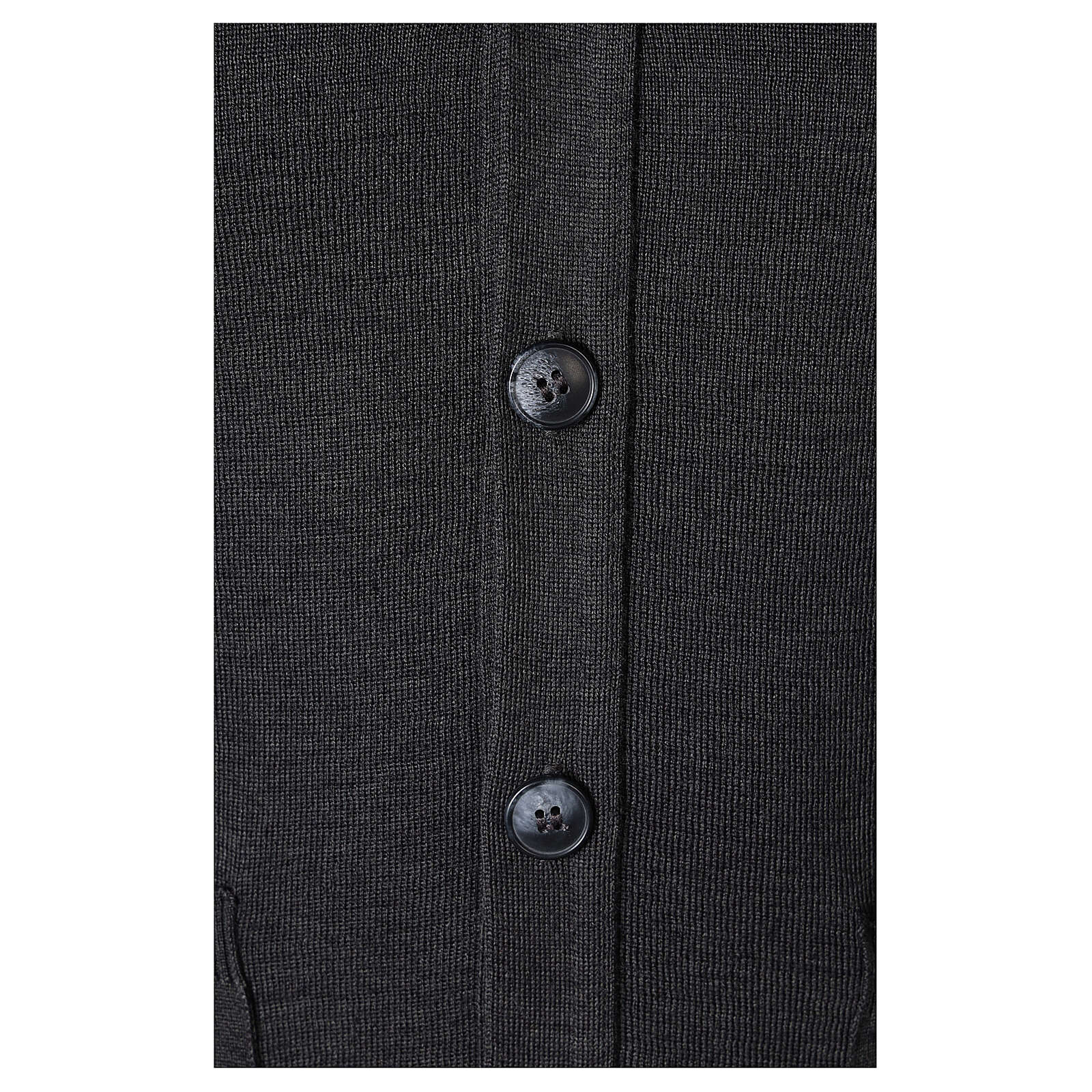 Grey clergy cardigan buttons and pockets 50% merino wool 50% acrylic In Primis 4