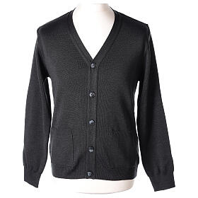 Grey clergy cardigan buttons and pockets 50% merino wool 50% acrylic In Primis s1