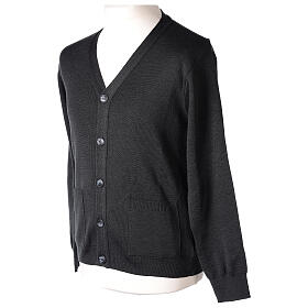 Grey clergy cardigan buttons and pockets 50% merino wool 50% acrylic In Primis s3