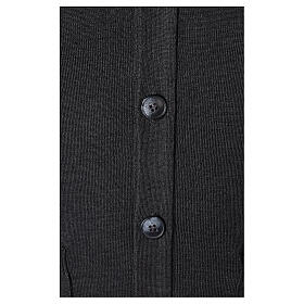 Grey clergy cardigan buttons and pockets 50% merino wool 50% acrylic In Primis s4