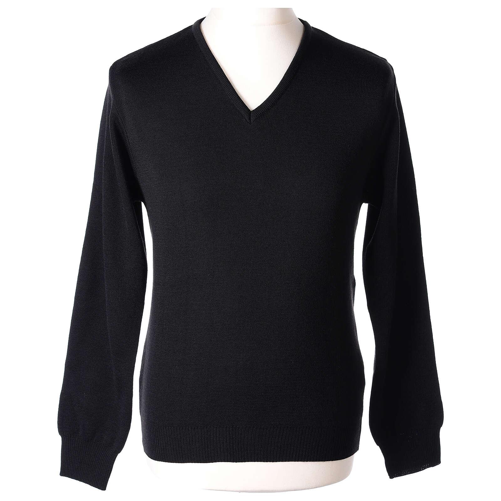 Jersey sacerdote cuello V negro punto unido 50% lana merina 50% acrílico In Primis 4