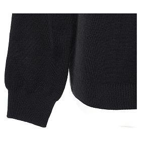 Pull col en V noir prêtre en tricot uni 50% laine mérinos 50% acrylique s4
