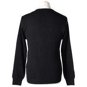 Pull col en V noir prêtre en tricot uni 50% laine mérinos 50% acrylique s5