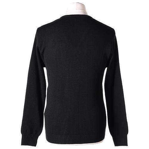 Pull col en V noir prêtre en tricot uni 50% laine mérinos 50% acrylique 5