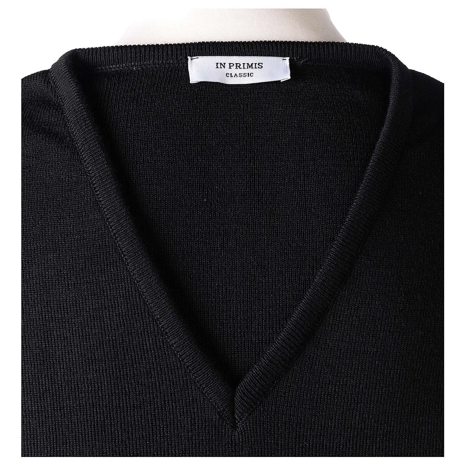 Pullover sacerdote scollo a V nero in maglia unita 50% lana merino 50% acrilico 4