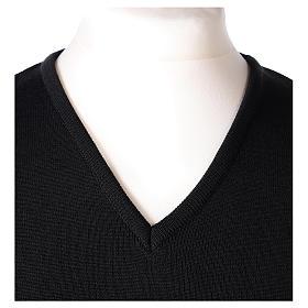 Pullover sacerdote scollo a V nero in maglia unita 50% lana merino 50% acrilico s2