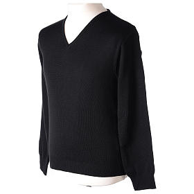 Pullover sacerdote scollo a V nero in maglia unita 50% lana merino 50% acrilico s3