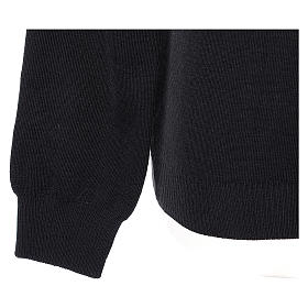 Pullover sacerdote scollo a V nero in maglia unita 50% lana merino 50% acrilico s4