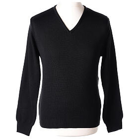 Pulôver sacerdote decote em V preto tricô plano 50% lã de merino 50% acrílico In Primis s1