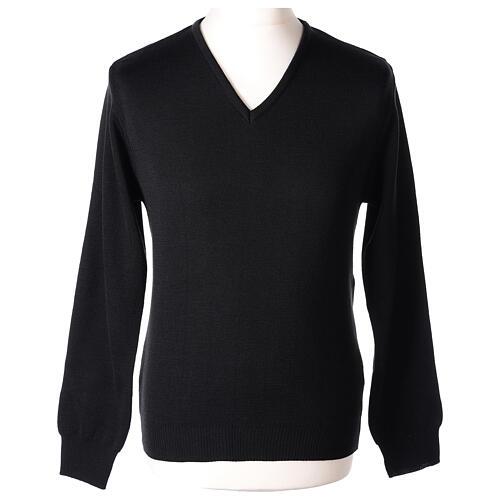 Pulôver sacerdote decote em V preto tricô plano 50% lã de merino 50% acrílico In Primis 1