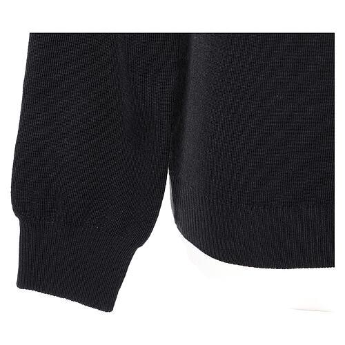 Pulôver sacerdote decote em V preto tricô plano 50% lã de merino 50% acrílico In Primis 4