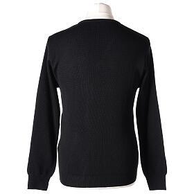 V-neck black clergy jumper plain fabric 50% acrylic 50% merino wool s5