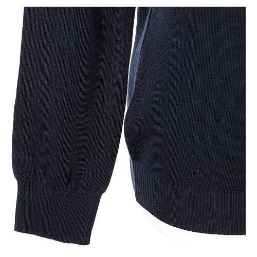 Jersey sacerdote cuello V azul punto unido 50% lana merina 50% acrílico In Primis 4