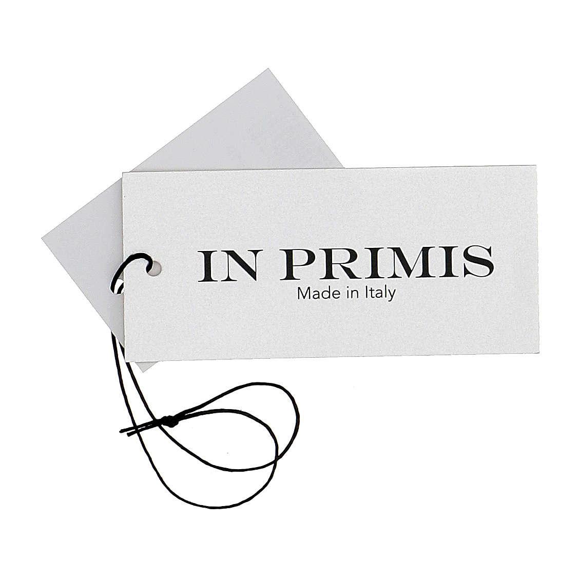 Pull col en V bleu prêtre en tricot uni 50% laine mérinos 50% acrylique In Primis 4