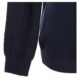 Pull col en V bleu prêtre en tricot uni 50% laine mérinos 50% acrylique In Primis s4