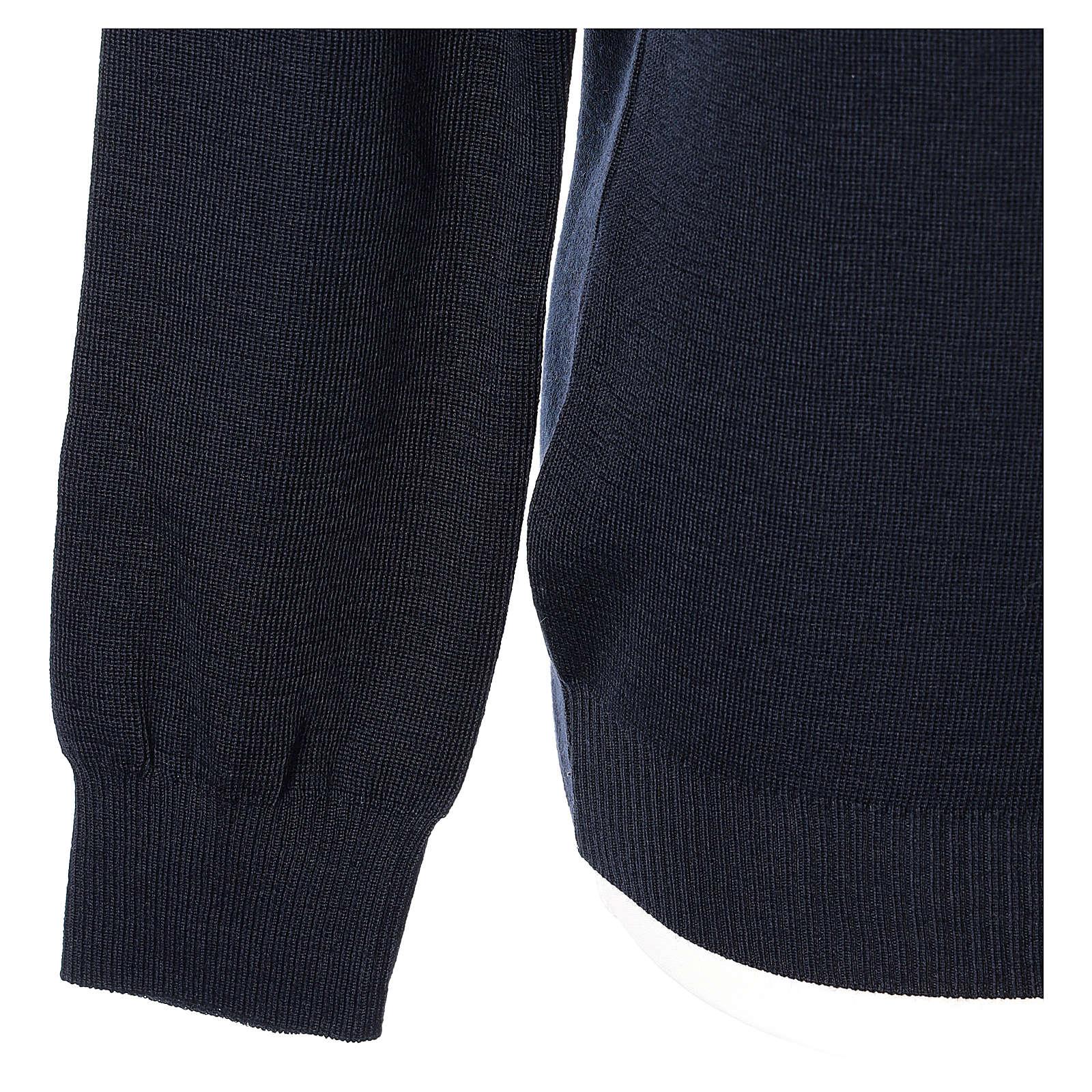 Pullover sacerdote scollo a V blu in maglia unita 50% lana merino 50% acrilico In Primis 4