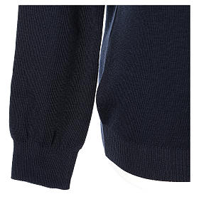 Pullover sacerdote scollo a V blu in maglia unita 50% lana merino 50% acrilico In Primis s4