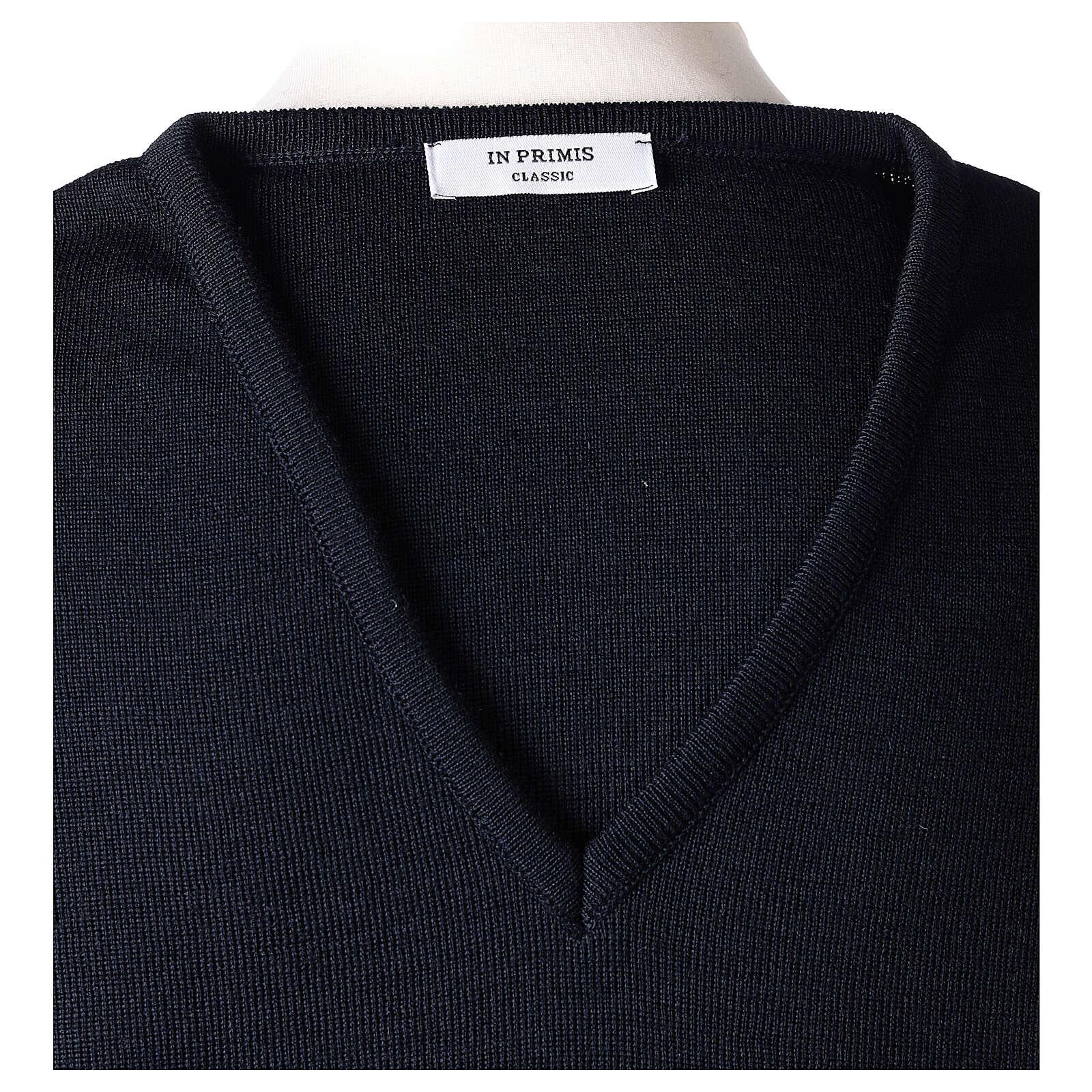 Pulôver sacerdote decote em V azul escuro tricô plano 50% lã de merino 50% acrílico In Primis 4