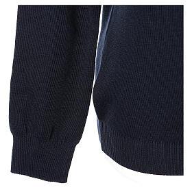 Pulôver sacerdote decote em V azul escuro tricô plano 50% lã de merino 50% acrílico In Primis s4