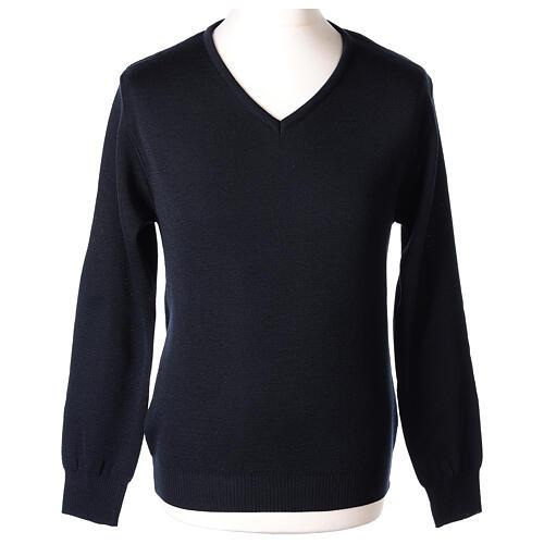 Pulôver sacerdote decote em V azul escuro tricô plano 50% lã de merino 50% acrílico In Primis 1