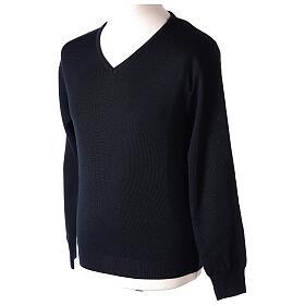 V-neck blue clergy jumper plain fabric 50% acrylic 50% merino wool s3