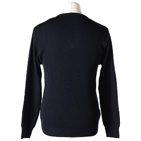 V-neck blue clergy jumper plain fabric 50% acrylic 50% merino wool s5