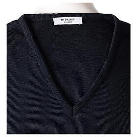V-neck blue clergy jumper plain fabric 50% acrylic 50% merino wool s6