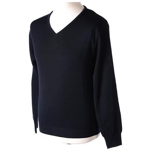 V-neck blue clergy jumper plain fabric 50% acrylic 50% merino wool 3