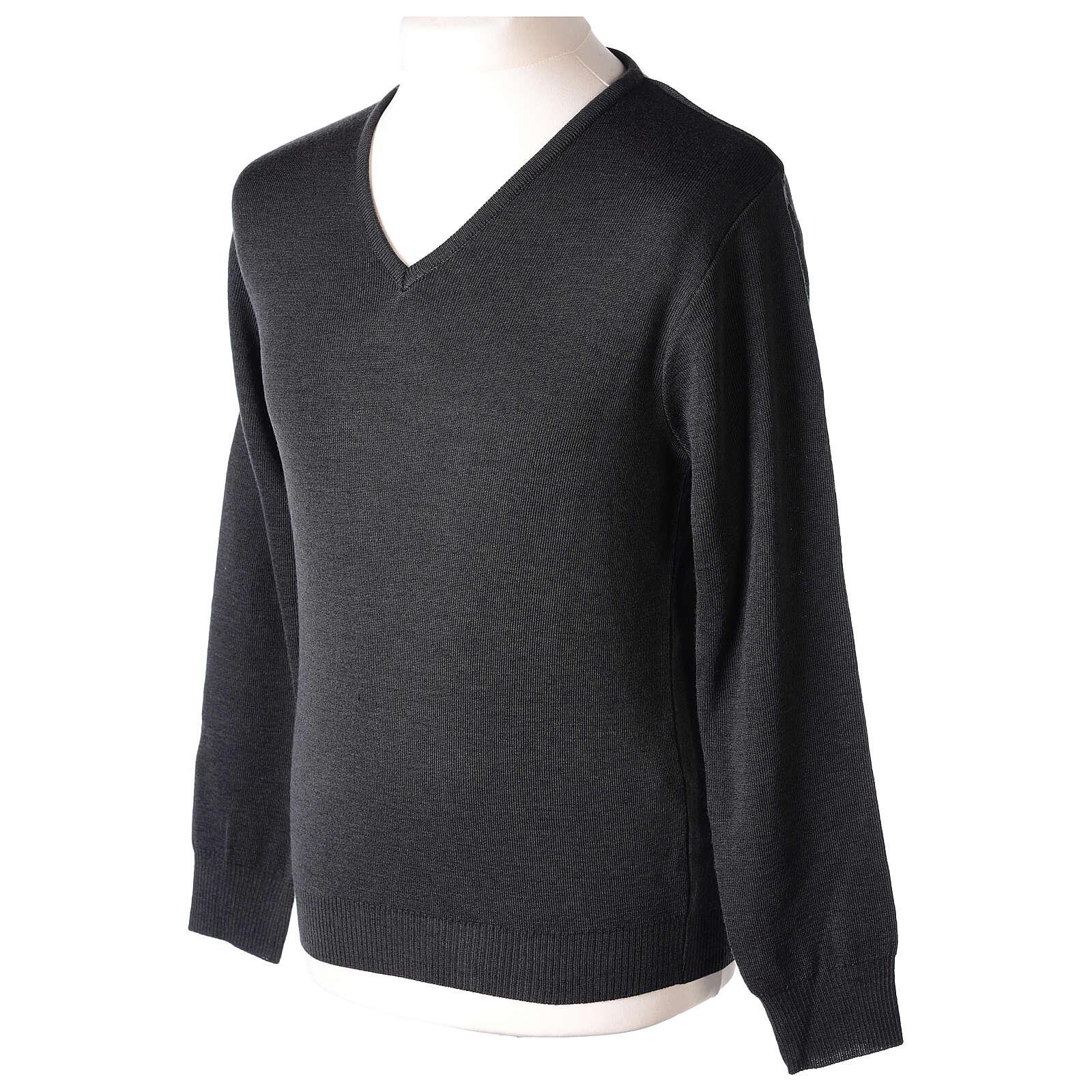 Jersey sacerdote cuello V antracita punto unido 50% lana merina 50% acrílico In Primis 4