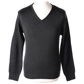 Pull col en V gris anthracite prêtre en tricot uni 50% laine mérinos 50% acrylique In Primis s1