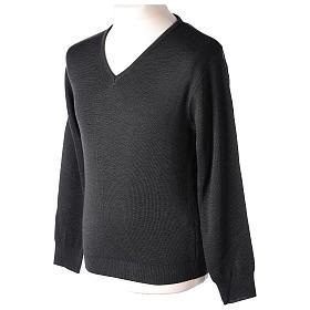 Pull col en V gris anthracite prêtre en tricot uni 50% laine mérinos 50% acrylique In Primis s3