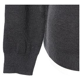 Pull col en V gris anthracite prêtre en tricot uni 50% laine mérinos 50% acrylique In Primis s4