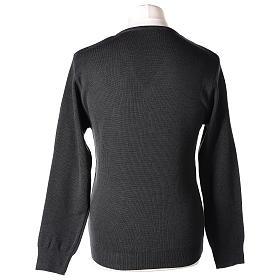 Pull col en V gris anthracite prêtre en tricot uni 50% laine mérinos 50% acrylique In Primis s5
