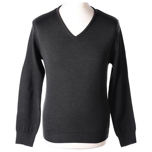 Pull col en V gris anthracite prêtre en tricot uni 50% laine mérinos 50% acrylique In Primis 1