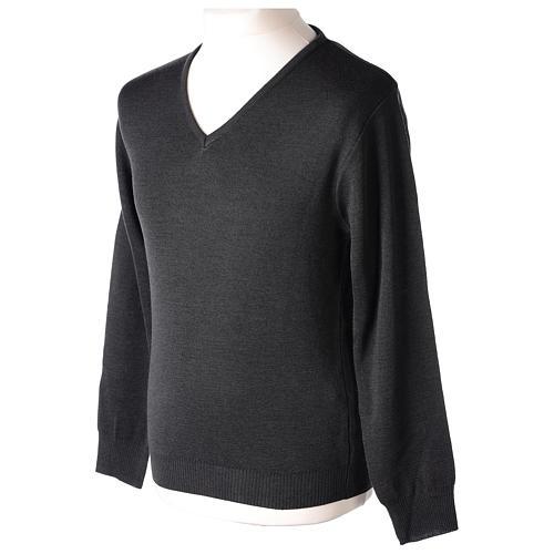 Pull col en V gris anthracite prêtre en tricot uni 50% laine mérinos 50% acrylique In Primis 3