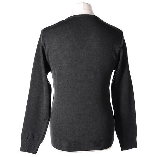 Pull col en V gris anthracite prêtre en tricot uni 50% laine mérinos 50% acrylique In Primis 5