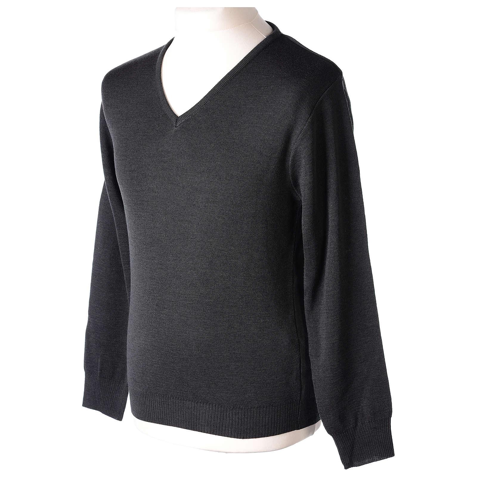 Pullover sacerdote scollo V antracite in maglia unita 50% lana merino 50% acrilico In Primis 4