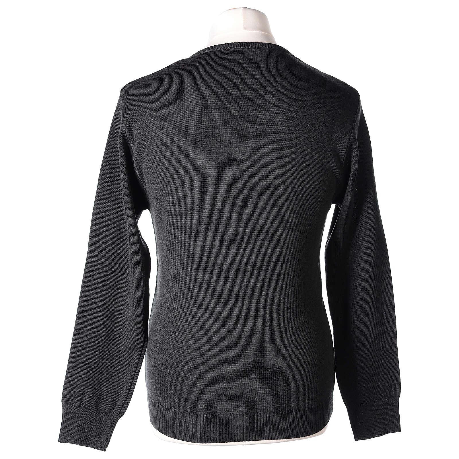 Pulôver sacerdote decote em V antracite tricô plano 50% lã de merino 50% acrílico In Primis 4