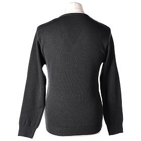 Pulôver sacerdote decote em V antracite tricô plano 50% lã de merino 50% acrílico In Primis s5