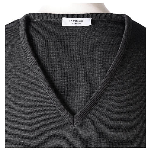 Pulôver sacerdote decote em V antracite tricô plano 50% lã de merino 50% acrílico In Primis 6