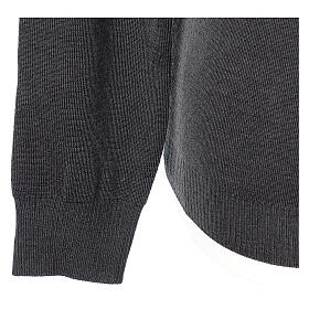V-neck grey clergy jumper plain fabric 50% acrylic 50% merino wool s4