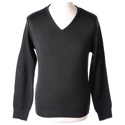 V-neck grey clergy jumper plain fabric 50% acrylic 50% merino wool 1