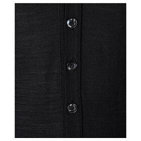 Chaleco sacerdote abierto 50% lana merina 50% acrílico punto al derecho negro In Primis s3