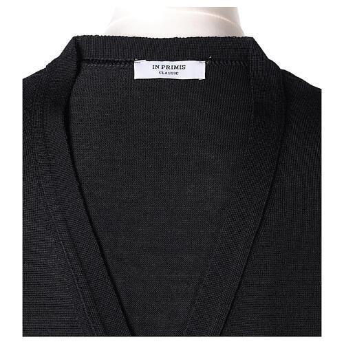 Chaleco sacerdote abierto 50% lana merina 50% acrílico punto al derecho negro In Primis 6