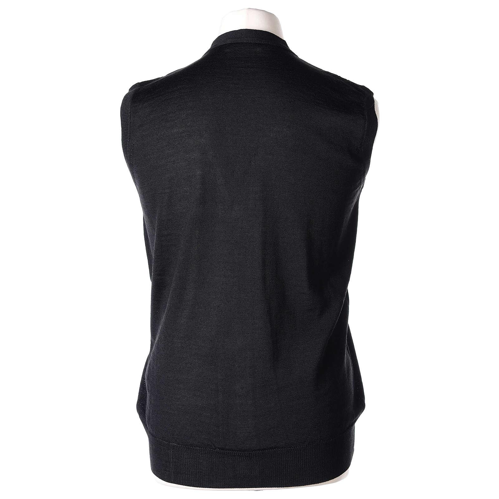 Gilet prêtre noir poches et sans manches boutons jersey simple 50% acrylique 50% laine mérinos In Primis 4