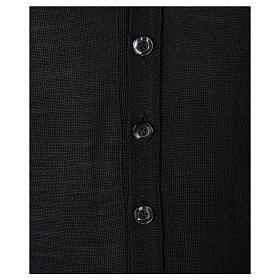 Gilet prêtre noir poches et sans manches boutons jersey simple 50% acrylique 50% laine mérinos In Primis s3