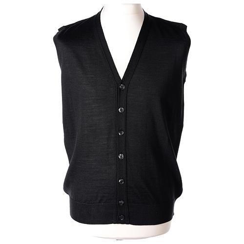 Gilet prêtre noir poches et sans manches boutons jersey simple 50% acrylique 50% laine mérinos In Primis 1
