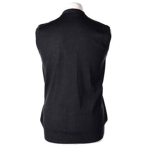 Gilet prêtre noir poches et sans manches boutons jersey simple 50% acrylique 50% laine mérinos In Primis 5